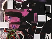 Paul Ewert: Krajinná konstrukce, akryl, tužka, papírová koláž na plátně, 80 x 100 cm, 2017.