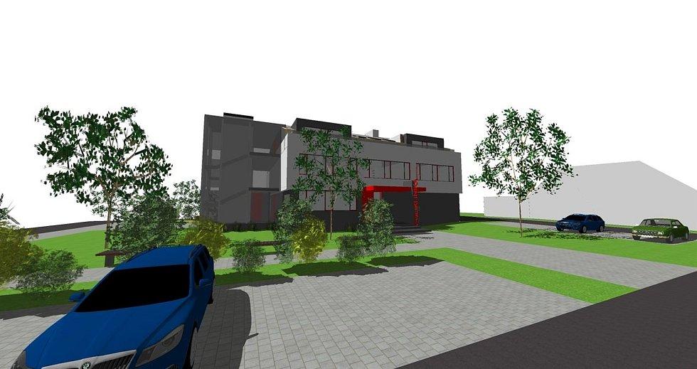 Vizualizace toho, jak bude nová víceúčelová budova vypadat.