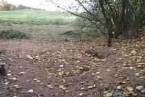 Místo, kde zemědělec nalezl tělo zavražděného.