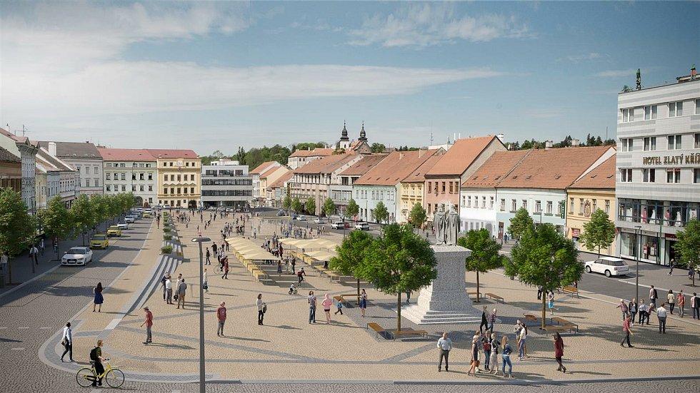Vizualizace Karlova náměstí po revitalizaci.