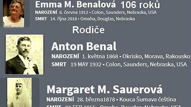 Ve věku 106 let zemřela Emma Benalová, dcera rodáka z Okříšek.