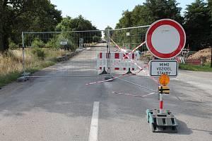 Úzavírka silnice u Výčap.