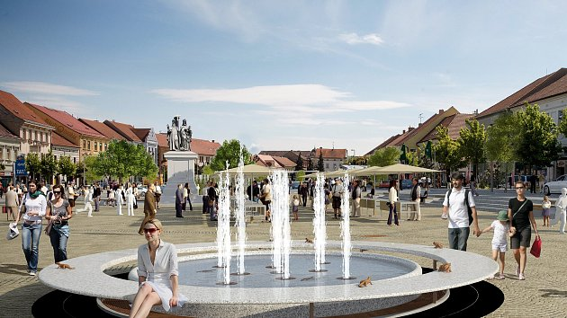 Tuto kašnu jen tak předběžně nakreslili architekti studia RAW, když vymýšleli návrh výsledné podoby opraveného Karlova náměstí.