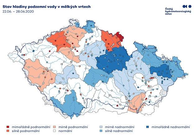Čím méně červené, tím lepší je stav podzemních vod na daném území.