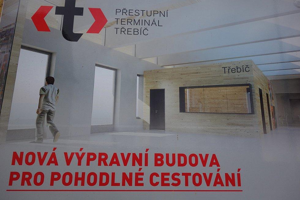 Vlakové nádraží v Třebíči. Vizualizace nové výpravní haly.