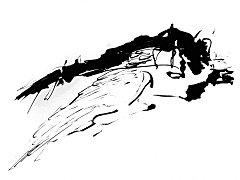 Jan Dočekal: Vysočina je letící Ikaros I-VI, vše kresba rákosem tuší na papíru, 21 x 29,7 cm, 2017.