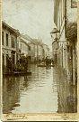 Povodně v třebíčské židovské čtvrti v roce 1912.