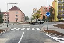 Kruhový objezd na Václavském náměstí.