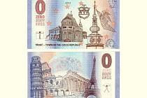 Přední stranu bankovky zdobí třebíčská bazilika a městská věž. Na zadní jsou pak vyobrazené významné evropské památky.