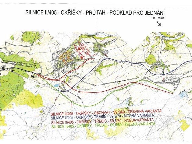 Řešení dopravy v Okříškách má čtyři varianty.
