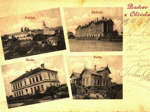 V Okříškách má vydávání pohlednic dlouhou tradici, nejstarší dochované pochází z konce 19. století. Všechny známé jsou k vidění ve fotogalerii na webu městyse.