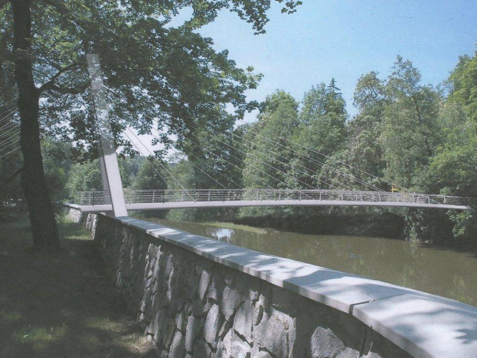 Ocelová lana a elegantní konstrukce – taková je podoba vítězného návrhu lávky, která přemostí řeku na Polance v Třebíči.