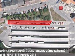 Plán rozšíření parkoviště u autobusového nádraží.