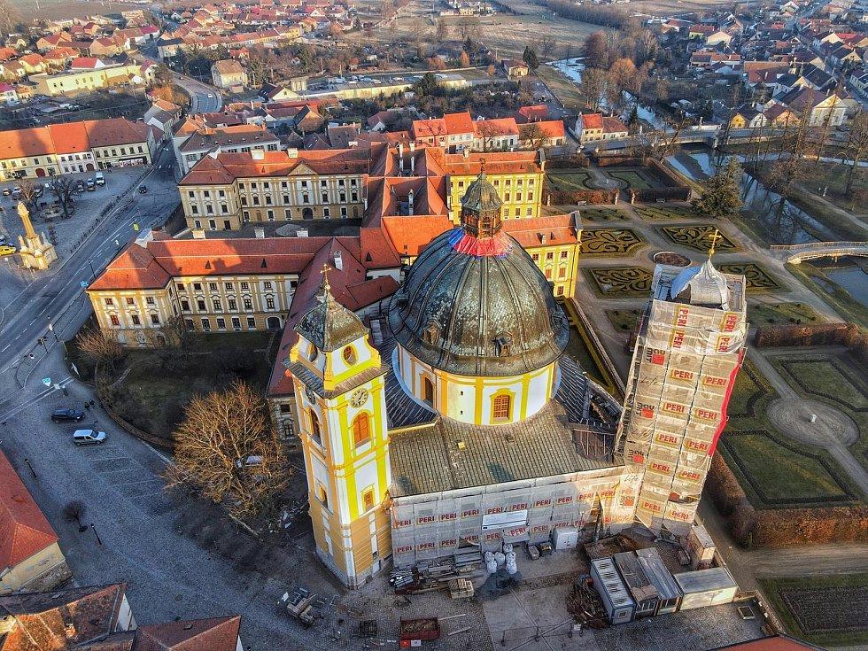 Jaroměřický zámek vyfocený z dronu