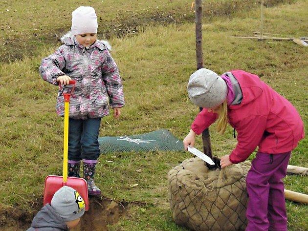 Alej ve Studenci pomáhaly vysadit děti.