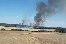 Požár kromě pole s obilím zasáhl i lesní porost.