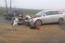 Bez zranění osob se obešla dopravní nehoda u Třebelovic na Třebíčsku.