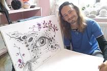Michal Kalenda a jeden z jeho obrazů.