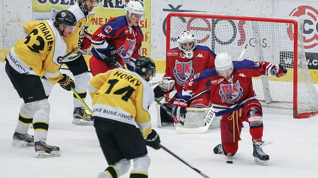 V loňské sezoně patřily Moravské Budějovice (ve žlutém) do skupiny Střed. Fanoušci tak mohli sledovat atraktivní krajská derby. Od podzimu mají Žihadla opět hrát převážně severomoravskou skupinu.