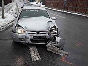 Nehoda u autobusového nádraží v Třebíči.