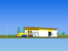 Toto je vizualizace stanice zdravotnické záchranné služby, která bude v Jemnici stát.