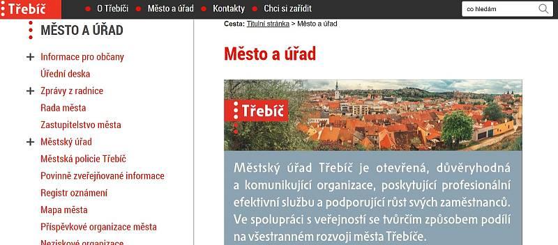 Webové stránky města Třebíč.