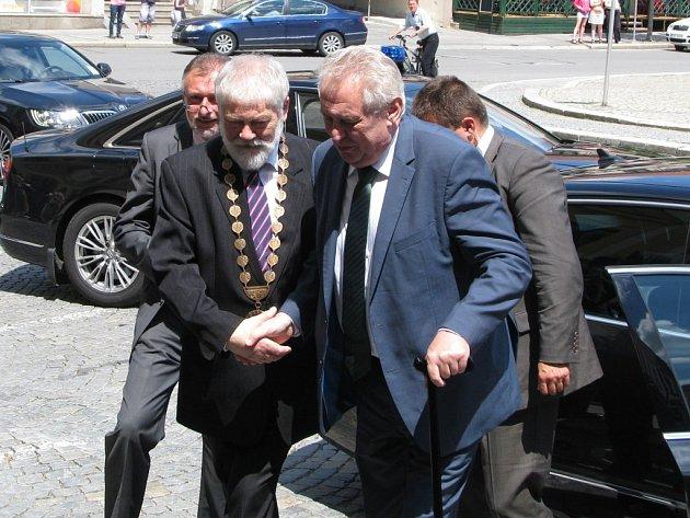 Prezident Miloš Zeman na návštěvě Vysočiny v Třebíči.
