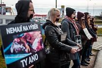 Protestní akce aktivistů u areálu Na Hvězdě v Třebíči.