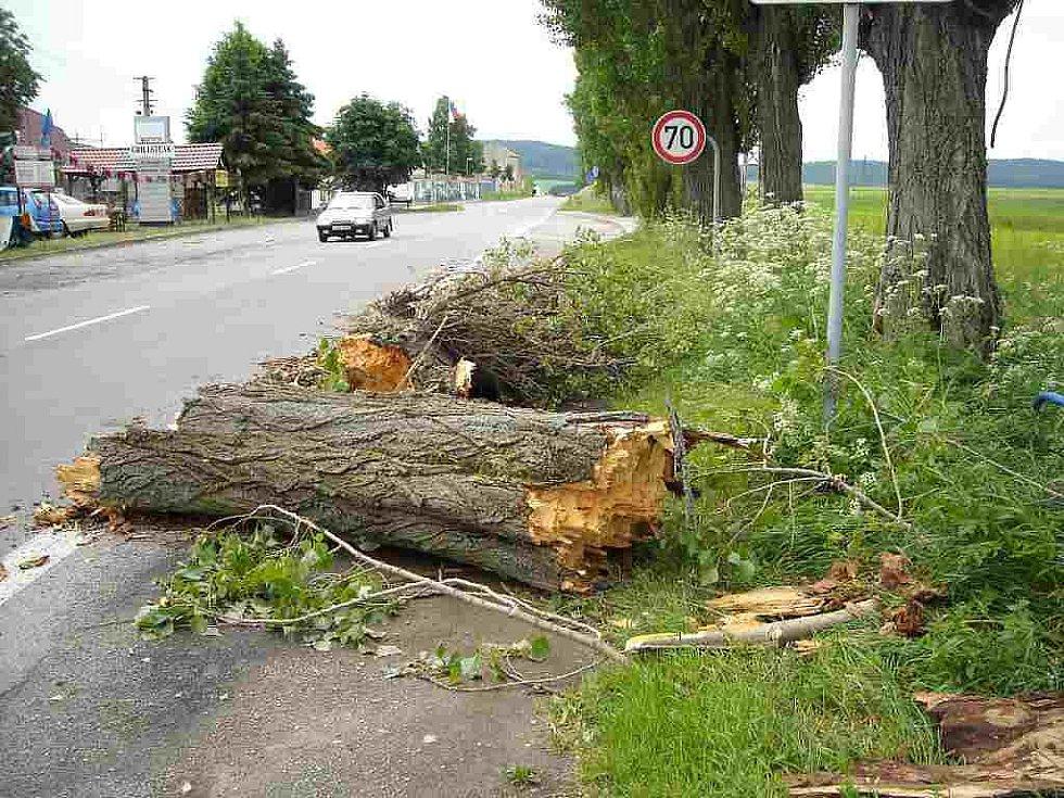 Prudká bouře na Třebíčsku.