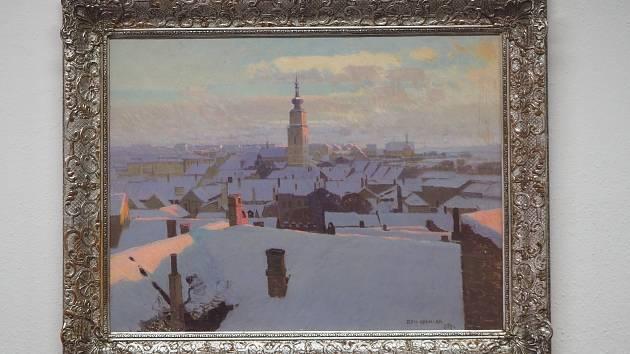 Zimní pohled na Třebíč. Obraz krajináře Romana Havelky.