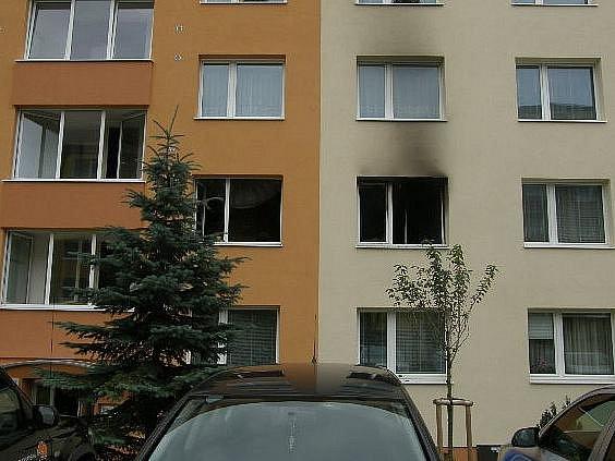 Požár v Mládežnické ulici v Třebíči.