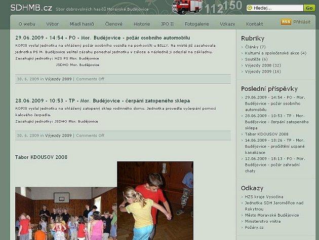 Webové stránky dobrovolných hasičů z Moravských Budějovic.