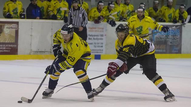 Utkání 4. semifinálového utkání mezi HC Moravské Budějovice 2005 a Draci Šumperk.