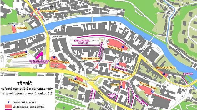 Mapa parkovišť.