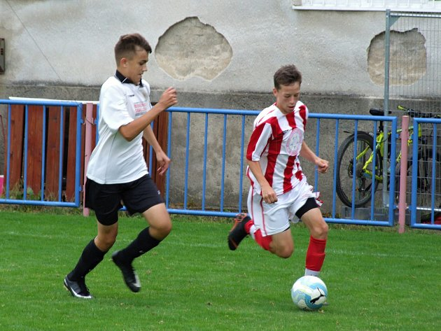 Mladší dorostenci Třebíče (v pruhovaném) hráli o víkendu proti Spartě Brno, kterou v přestřelce porazili 6:5. Ve středu získali v Pelhřimově bod za remízu 3:3.