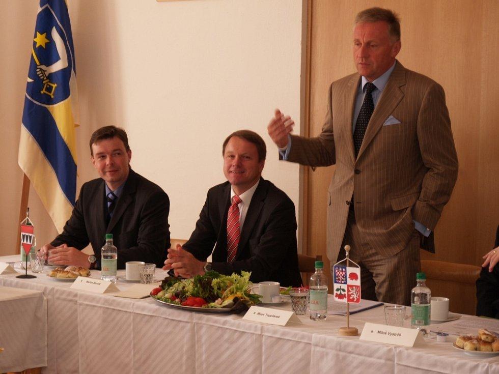 Návštěva premiéra Mirka Topolánka v Třebíči.