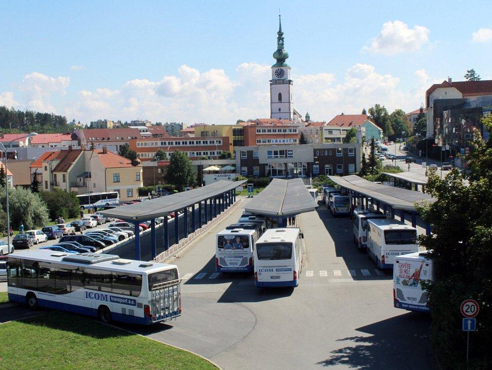 Autobusové nádraží v Třebíči.