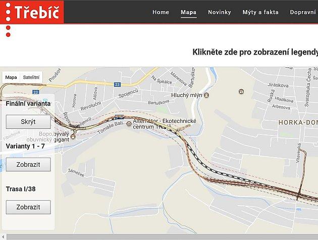 Třebíčská radnice spustila nové webové stránky obchvat.trebic.cz.