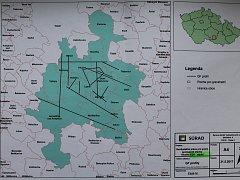 Tuto mapku mají na obecních úřadech bezmála dvaceti obcí, jejichž katastry jsou vyznačeny zeleně. Mapka z dílny SÚRAO ukazuje, kde probíhá předběžný výzkum geologů.