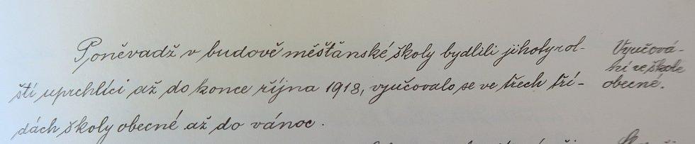 Zápisy ze školní kroniky v Želetavě.