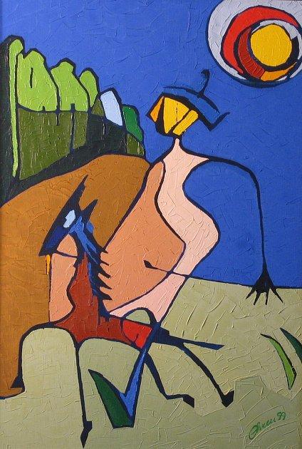 8. Ján Chren dlouhé roky maluje, prošel různými obdobími istyly. Dodnes vytvořil asi tři stovky obrazů. Pustil se ido dřevořezby. Betlém, který vysochal, vystavoval šest let vtřebíčské bazilice. Jeho rukopis, který můžeme nazvat jednoduše čára jako výr