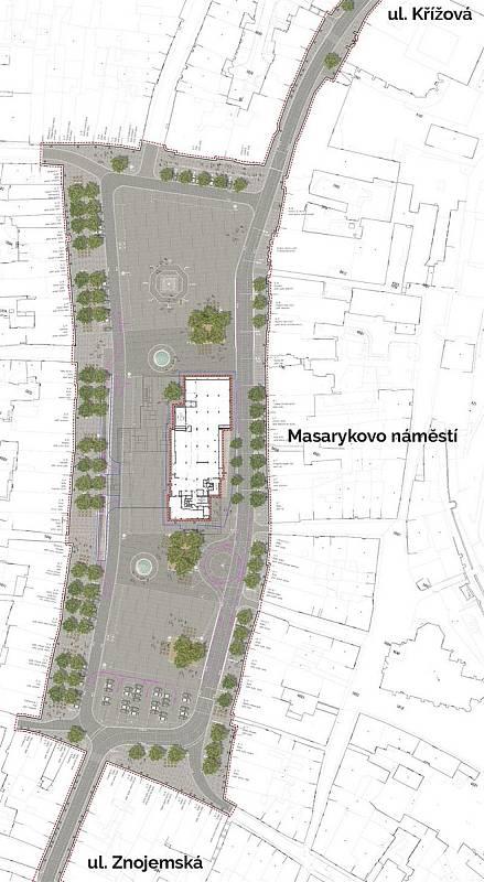 VIzualizace stromových skupin na Masarykově náměstí v Jihlavě.