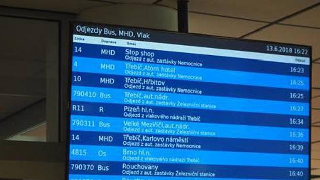 Obrazovka s odjezdy spojů v třebíčské nemocnici.