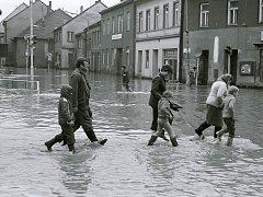 Povodně v Třebíči v roce 1985.