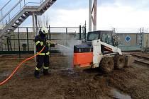 Požár bagru v Jaderné elektrárně Dukovany.
