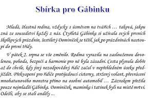 Sbírka pro Gábinku.