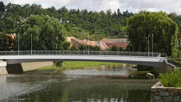 Na vizualizaci je vidět nová podoba Podklášterského mostu. Starý by se měl začít bourat v květnu příštího roku. Nový bude stát do konce roku 2016.