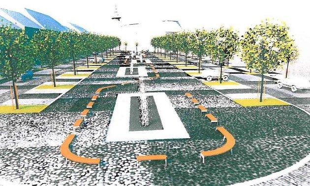 Vizualizace náměstí v Moravských Budějovicích.