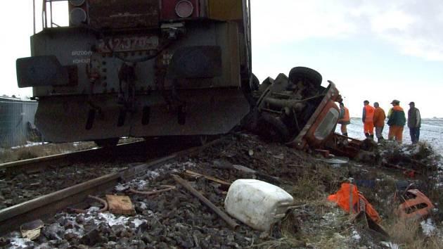 Srážka vlaku s nákladním automobilem u Vranína.