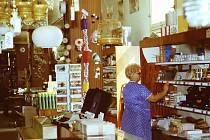 Pestrá nabídka. V této části obchodu měli gramodesky, parfumerii i papírnictví.